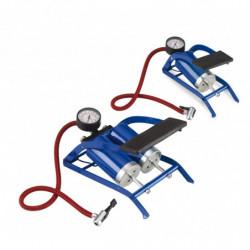 Pompa gonfiaggio a pedale con manometro doppio cilindro