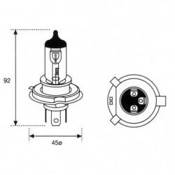 Lampada alogena 12V H4 60/55 W P43t +50% Luminosità