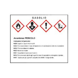 Gasolio - Targa avvertenze...