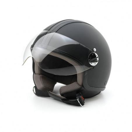 Casco moto Jet Skin Emotion pelle nero XL