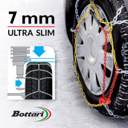 """Catene da neve GULF premium 7 mm """"G7"""" a maglia ritorta mis. 110 - Coppia"""